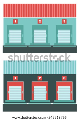 Loading dock. Flat icon of loading dock. Front view. - stock vector