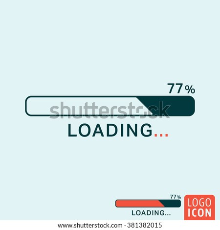 Loading icon. Progress bar icon isolated, minimal design. Vector illustration - stock vector