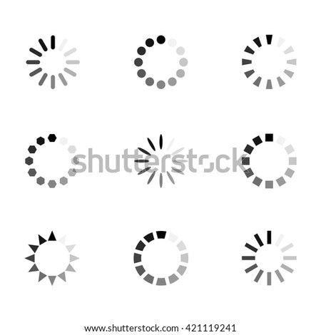 Loading icon vector set in flat style isolated from the background. Monochrome loading  icons for apps and website. Different modern loading icons for design.  - stock vector