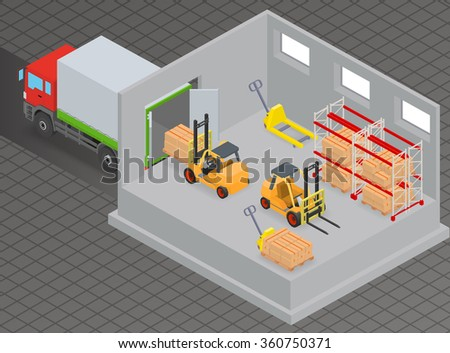 Loading or unloading a truck in the warehouse. Forklifts move the cargo. Warehouse equipment. Isometric illustration. - stock vector