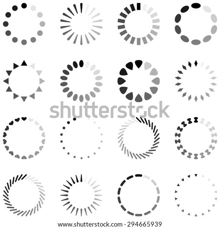 Loading, progress or buffering spinning icons, black and white - stock vector
