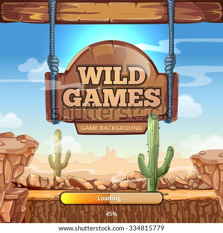 Loading screen with title for  Wild West game. Desert and mountains, cactus and stone, signpost vector illustration - stock vector