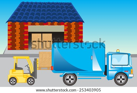 Loading the cargo car on storehouse.Vector illustration - stock vector