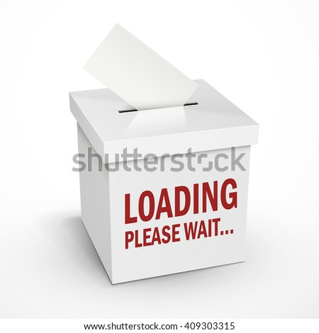 loading word on the 3d illustration white voting box isolated on white background - stock vector