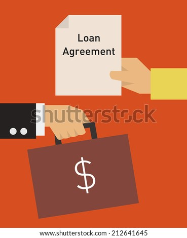 Loan agreement flat icon. Hand holding contract exchanging with another hand holding a briefcase with money - stock vector