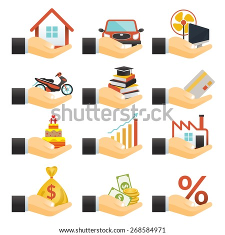 Loan, Hands with Objects Credit, Business Marketing Banking Finance and Money - stock vector