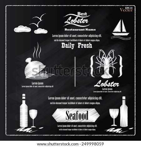 Lobster.Lobster vector on chalkboard.menu seafood on chalkboard - stock vector