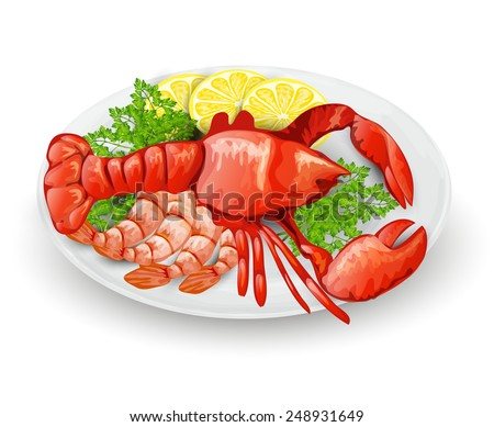 Lobster on plate with lemon shrimps and parsley seafood restaurant menu concept vector illustration - stock vector