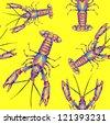 Lobster seamless pattern - stock photo