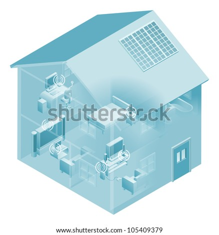 Local area network with devices like phones, games consoles, pc desktop computer, laptop, and tv connected in a network, wired and wireless. - stock vector