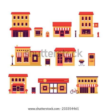 Local Business Buildings. Set of icons of local business buildings such as: retail store, mall, restaurant, cafe and so on - stock vector