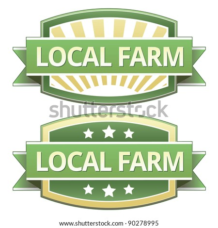 Local farm food label, badge or seal with green and yellow color in vector