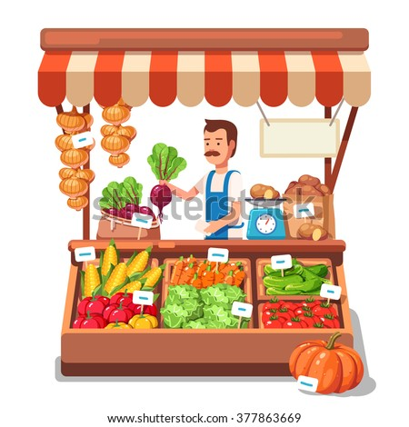 Local market farmer selling vegetables produce on his stall with awning. Modern flat style realistic vector illustration isolated on white background. - stock vector