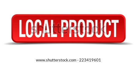 local product red 3d square button isolated on white - stock vector