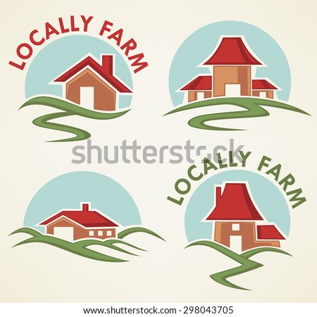 locally farm and homes, vector collection of property symbols, logo and emblems - stock vector