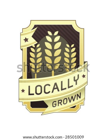Locally grown food label for product packaging, website, or print materials