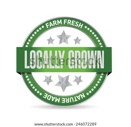 locally grown green seal illustration design over a white background - stock vector