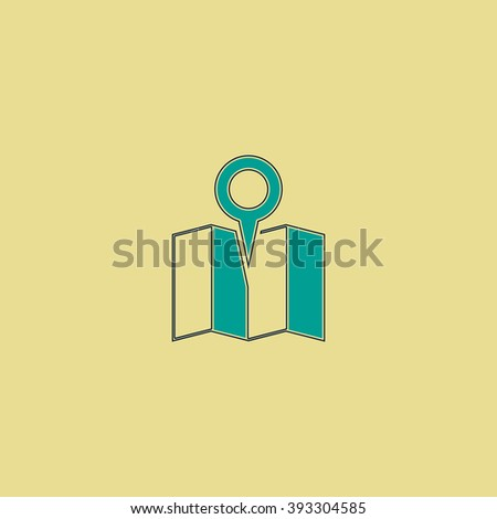 Location Flat line icon on yellow background. Vector pictogram with stroke - stock vector