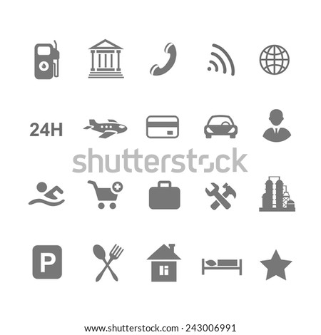 location icons  set isolated on white airport car  shopping restaurant hotel gas station - stock vector