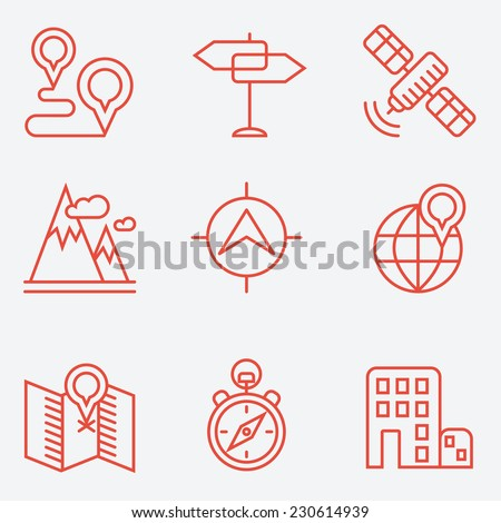 Location icons, thin line style, flat design - stock vector