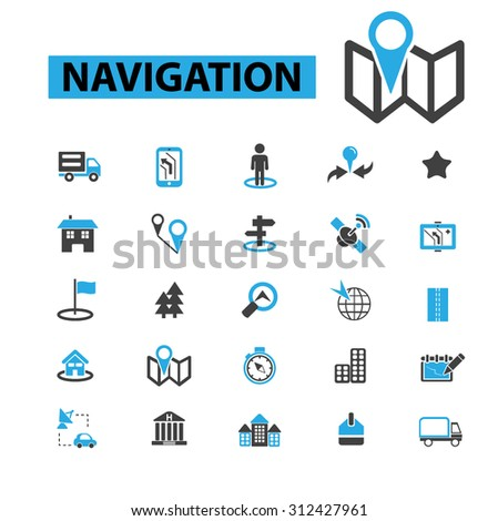 location, map, direction, route, car navigation, logistics, travel, positioning, compass, cartography, road, journey, searching icons, signs vector concept  - stock vector
