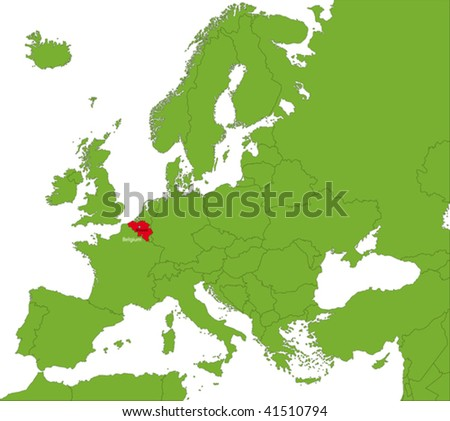 Location of Belgium on the Europa continent - stock vector