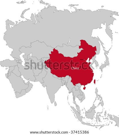 Location of China on the Asia continent - stock vector