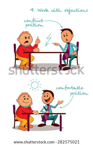Location of Manager and the client at the table during negotiations. Rules of successful sales. Step 4. - stock vector