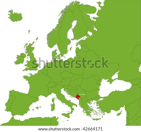 Location of Montenegro on the Europa continent - stock vector