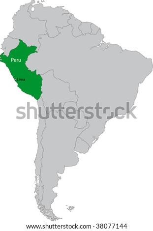 Location of Peru on the South America continent - stock vector