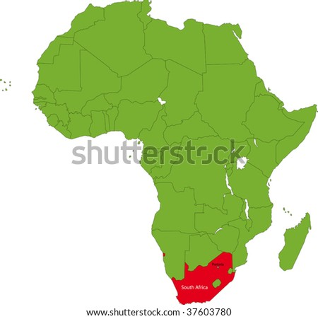 Location of South Africa on the Africa continent - stock vector
