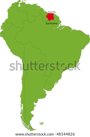 Location of Suriname  on the South America continent - stock vector