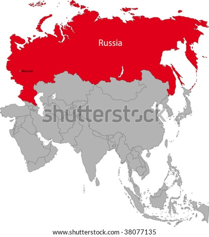 Location of the Russian Federation on the Asian continent - stock vector