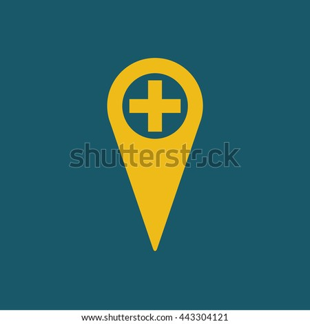 Location pin / map marker with plus symbol / zoom in / + icon . vector illustration