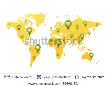 Location pins on world map travel stock vector 654901534 shutterstock location pins on world map travel or corporation extension concept vector elements easy to gumiabroncs Image collections