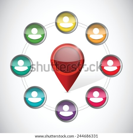 location pointer on a diversity cycle. illustration design over a white background - stock vector