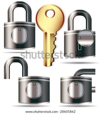 Lock and key - stock vector