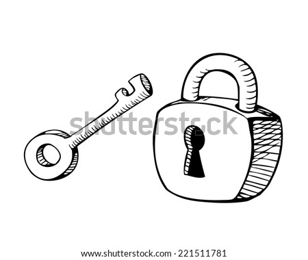 Lock and key sketch - stock vector
