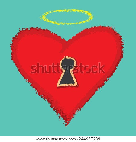 lock as heart and Open your heart - stock vector