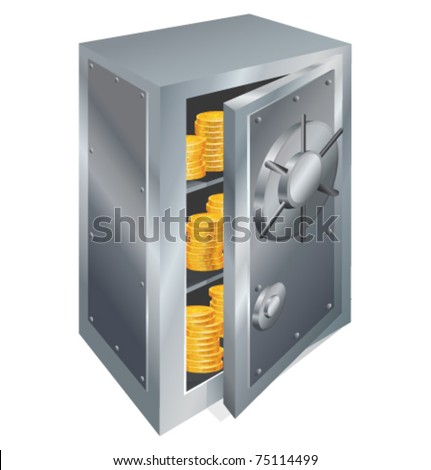 Lock box with gold coins vector illustration