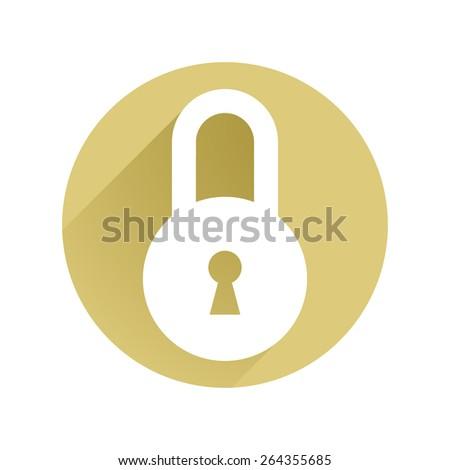 Lock circle icon flat  - stock vector
