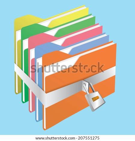 Lock folder - stock vector