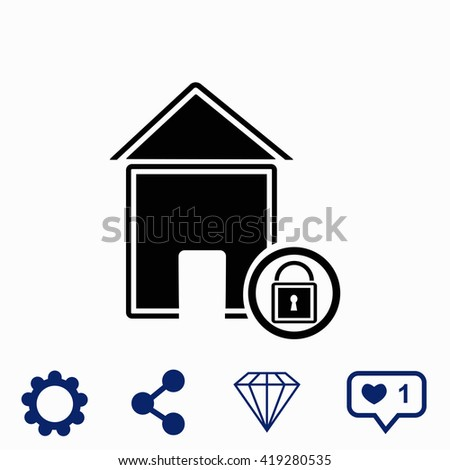 Lock house icon. Universal icon to use in web and mobile UI - stock vector