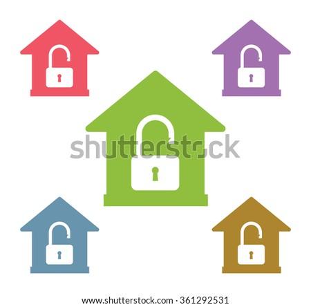 Lock house vector icon shape. Home, house, lock. House security vector icon. House lock sign. Lock vector icon symbol.  - stock vector