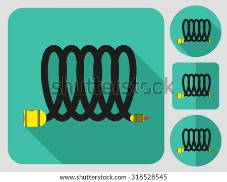 Lock icon. Bike accessories. Flat long shadow design. Bicycle icons series. - stock vector