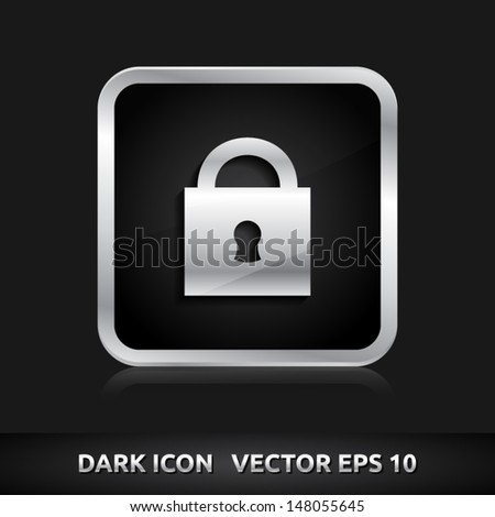 Lock icon | color dark black silver metal grey white | icon set | abstract vector symbol | template design | shadows shiny | business button | abstract 3d - stock vector