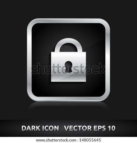 Lock icon | color dark black silver metal grey white | icon set | abstract vector symbol | template design | shadows shiny | business button | abstract 3d - stock vector