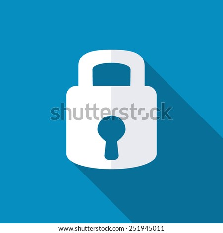 Lock icon. Flat design style modern vector illustration. Isolated on red color background. Flat long shadow icon. Elements in flat design - stock vector