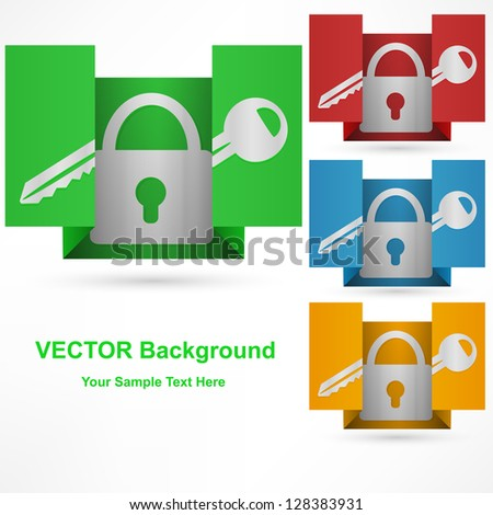 lock icon on paper, isolated on white background - stock vector