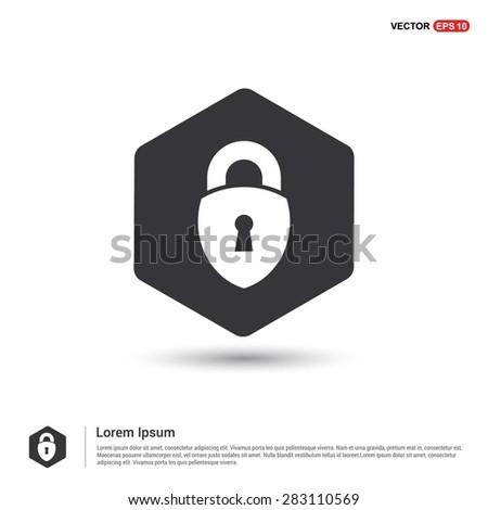 lock icon, padlock icon - abstract logo type icon - hexagon black background. Vector illustration - stock vector